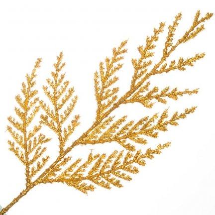 Gałązka Cedar Brokatowa Złoto [Komplet 10 sztuk] 602940