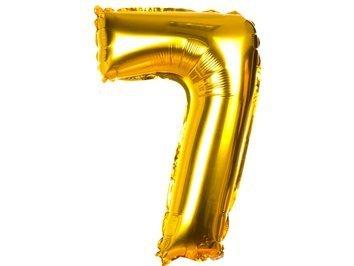 Balony Foliowe Cyferka 7 Złota 40cm - [ Komplet - 20 sztuk]
