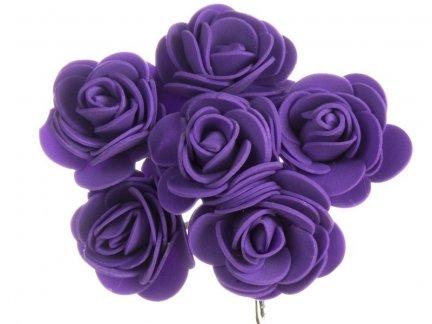 Różyczki z Pianki Fiolet 6szt [Komplet 12 pęczków]