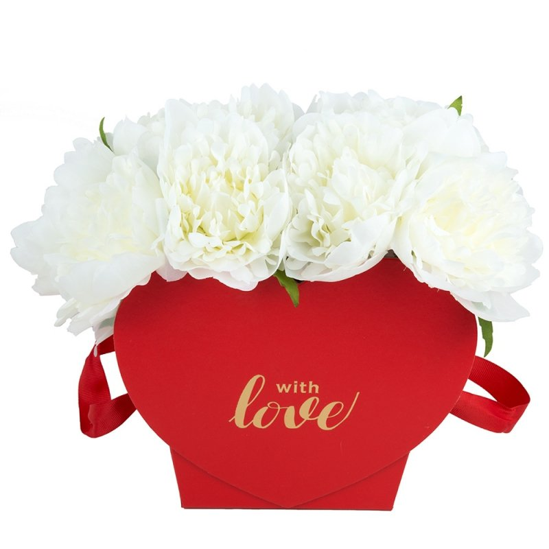 "Flower Box Serce Czerwone ""With Love "" 2"