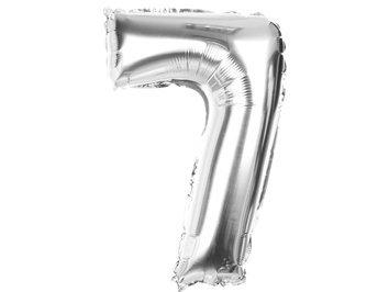 "Balony Foliowe Cyferka ""7"" Srebrna 100cm - [ Komplet - 10 sztu]"