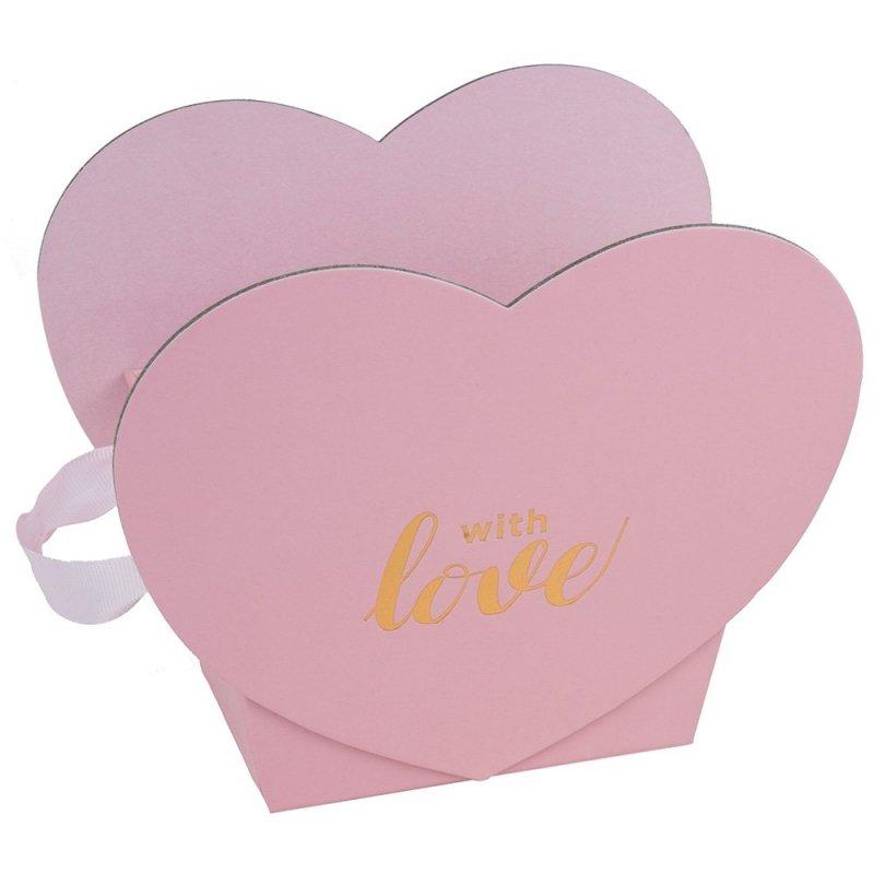"""Flower Box Serce """"With Love"""" Różowe 1"""