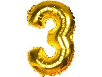 """Balony Foliowe Cyferka """"3"""" Złota 40cm - [ Komplet - 20 sztuk]"""