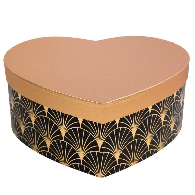 Flower Box Serce Czarno-Złoty Mały