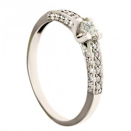 Pierścionek złoty zaręczynowy 24H białe złoto 585