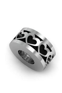 Koralik, charms, zawieszka modułowa, srebrna 925, Serca