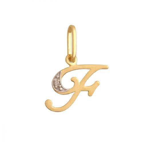 Zawieszka złota 585 litera, literka F -  34837
