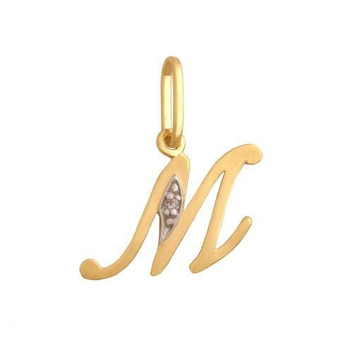Zawieszka złota 585 litera, literka M -  34843