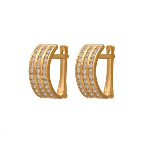 Kolczyki złote 585 na klapkę, zatrzaskowe - 35823