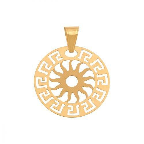 Zawieszka złota 585 wzór grecki, słońce - 37592