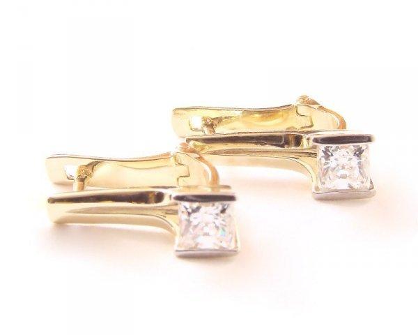 Kolczyki złote 585 na klapkę, zatrzaskowe - ARTES-Kolczyki złote 553 PR. 585