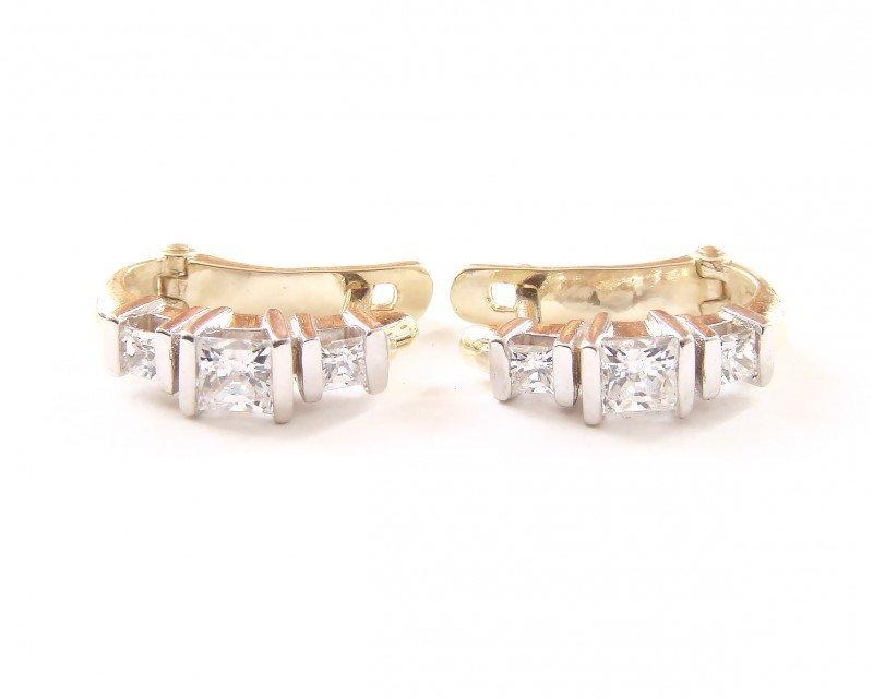 Kolczyki złote 585 na klapkę, zatrzaskowe - ARTES-Kolczyki złote 480 PR. 585