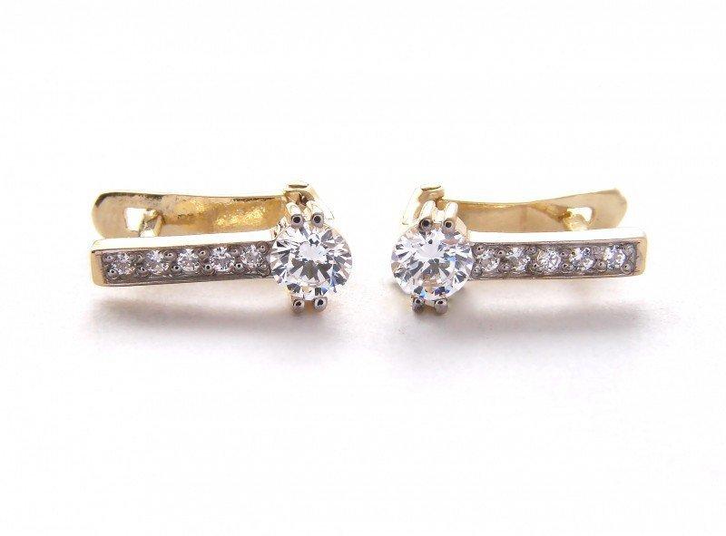 Kolczyki złote 585 na klapkę, zatrzaskowe - ARTES-Kolczyki złote 408 PR. 585