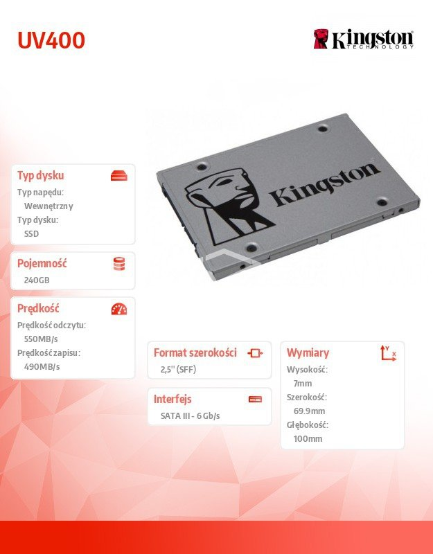 "Dysk SSD Kingston UV400 240GB 2,5"" SATA3"