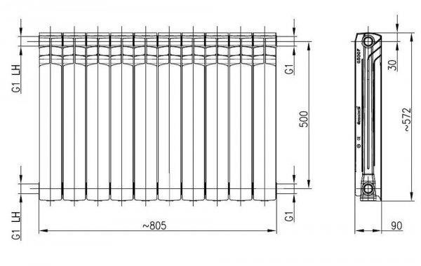 Armatura G500F Grafitowy grzejnik aluminiowy