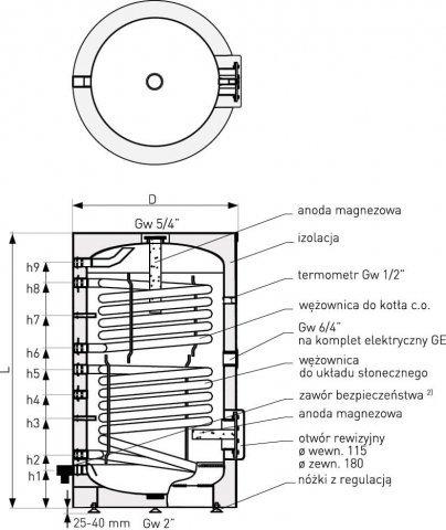 Galmet SGW(S)B 300 l wymiennik z podwójną wężownicą spiralną