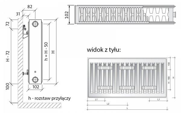 Grzejnik pokojowy Purmo C22 600x800 panelowy