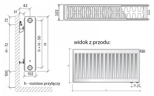 Purmo CV22 600x900 Grzejnik panelowy pokojowy