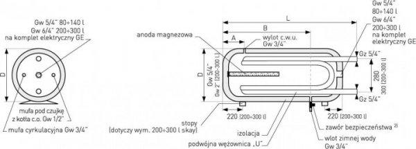 Bojler Galmet wymiennik 2x wężownica 120l + anoda