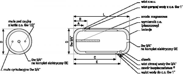 Bojler Galmet Wymiennik dwupłaszczowy 100l + uchwyty