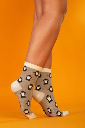 Supa! Sox! Grey Pingu ladies socks