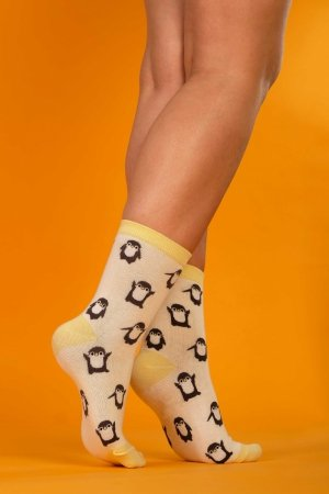 Supa! Sox! Yellow Pingu ladies socks
