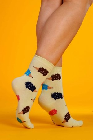 Supa! Sox! Light Green Hedgehog ladies socks