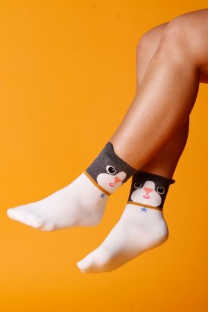 Supa! Sox! White Cat ladies socks (JP6181)
