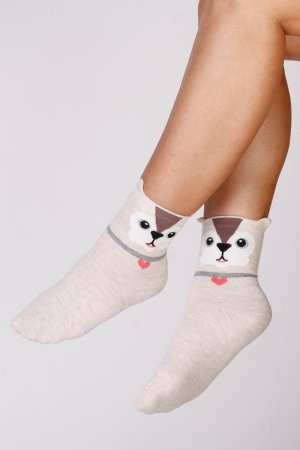 Supa! Sox! Beige Cat ladies socks (JP6181)