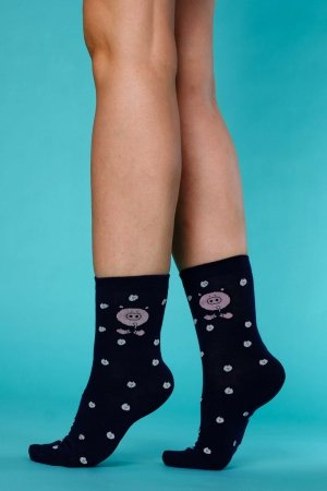 Supa! Sox! Navy Pig ladies socks