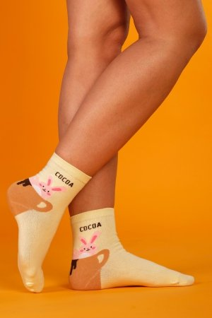 Supa! Sox! Yellow Cocoa ladies socks