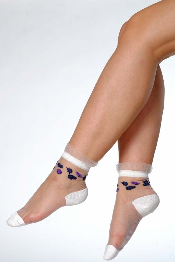 Supa! Sox! Purple Shells ladies sheer socks