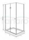 DURASAN - Kabina prostokątna LIVORNO SQUARE pojedyncze drzwi uchylne z powłoką NANO GLASS