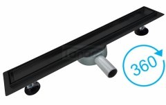 AQUALine - Odpływ liniowy podłogowy 2w1 pod płytkę CZARNY Matowy Obrotowy syfon Rozmiary 50-120cm R04BK