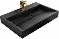 REA - Umywalka konglomeratowa nablatowa GOYA Black Mat / Czarny Mat 70cm