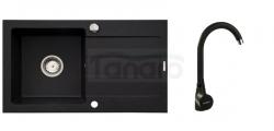 PYRAMIS - Zestaw zlewozmywak NEXT (76x44) 1B 1D karbon 070053601 +  bateria BELLO karbon .090918501