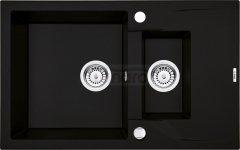 DEANTE Zlewozmywak ANDANTE 1,5-komorowy z krótkim ociekaczem - czarny ZQN N513