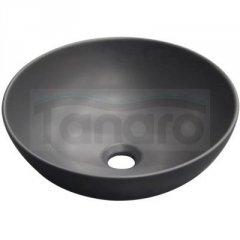 INVENA - Umywalka DOKOS okrągłą nablatowa 39,5 czarny półmat CE-19-005-C