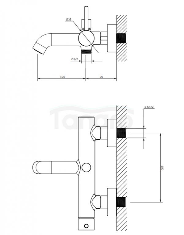 OMNIRES Bateria wannowa z zestawem prysznicowym ZŁOTY SZCZOTKOWANY Y1231GLB