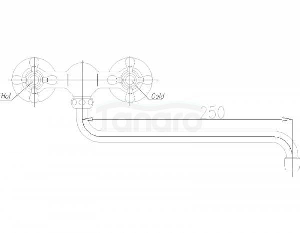 ARMATURA KRAKÓW - Retro Classic Bateria zlewozmywakowa ścienna 380-620-00