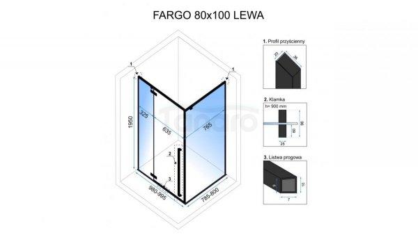 REA - Kabina prysznicowa FARGO 80X100 BLACK MAT (LEWA)