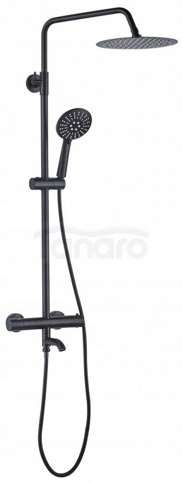 REA - Zestaw prysznicowy natryskowy z wylewką i baterią termostatyczną LUNGO BLACK  z termostatem