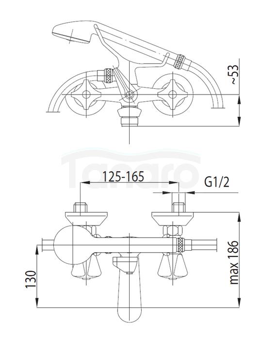 ARMATURA KRAKÓW - STANDARD bateria wannowa dwuuchwytowa 304-120-00