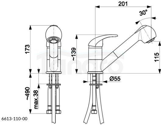 ARMATURA KRAKÓW KFA Bateria kuchenna z wyciąganą wylewką INDIRA BLACK 6613-110-81