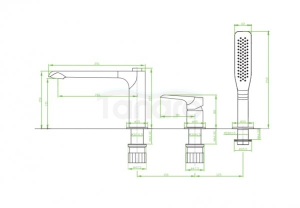 LAVEO - Bateria wannowa 3-otworowa biel/chrom ALEA BLE 613D