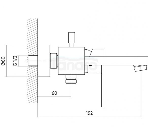 CERSANIT - Bateria wannowo-natryskowa ścienna ELIO Solution z przełącznikiem  S951-007