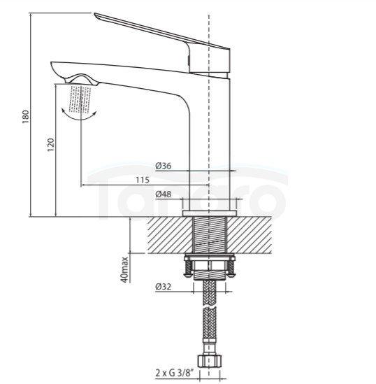 VEDO - Bateria DESSO NERO umywalkowa VBD4001CZ