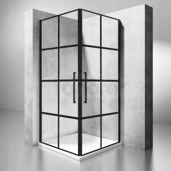 REA - Kabina prysznicowa prostokątna czarne kraty RUBIK BLACK MAT 80x100