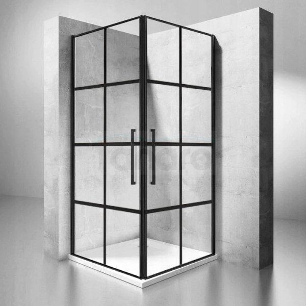 REA - Kabina prysznicowa kwadratowa czarne kraty RUBIK BLACK MAT 90x90