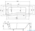 Besco Inspiro 160x70cm wanna z parawanem lewa + obudowa + syfon #WAI-160-PLE/#OAI-160-II/19975